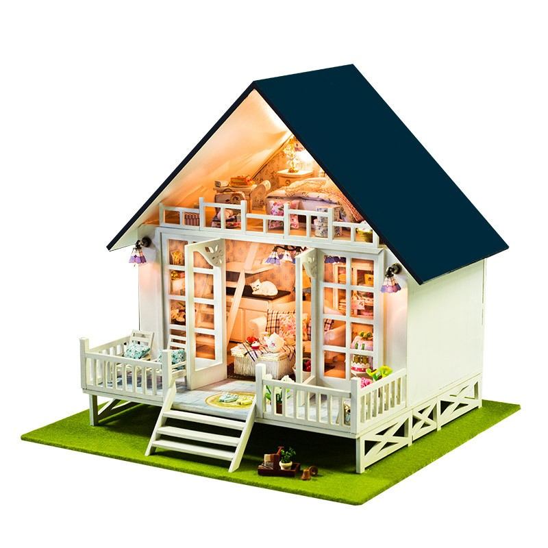 DIY Wooden Doll House Toys Dollhouse Miniature Box Kit With Cover And LED Furnitures Handcraft Miniature Dollhouse free shipping assembling diy miniature model kit wooden doll house house toy with furnitures