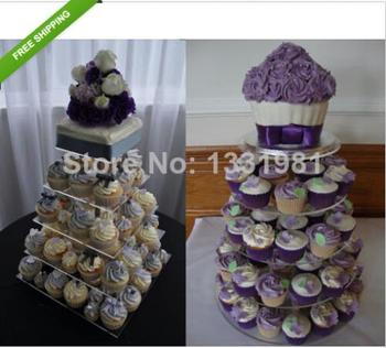 5 Tier Crystal Clear Acrylic Round Square CupCake Stand Tower Display Party wedding decoration