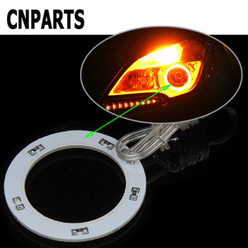CNPARTS 2PCS Car Ring Angel Eyes Headlight Decorative Lights LED For Audi A4 B7 B5 A6 C6 Q5 Honda Civic 2006-2011 Fit Accord CRV image