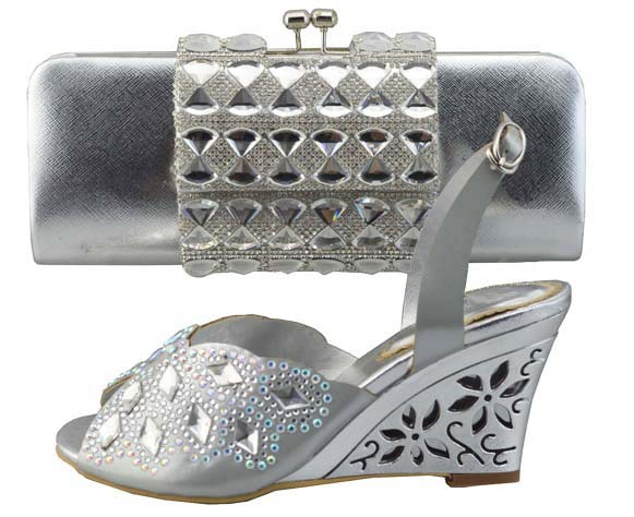 ФОТО talian Shoes With Matching Bag High Quality For party wedding Italy Shoes And Bag For Evening Free Shipping 1308T04 SILVER