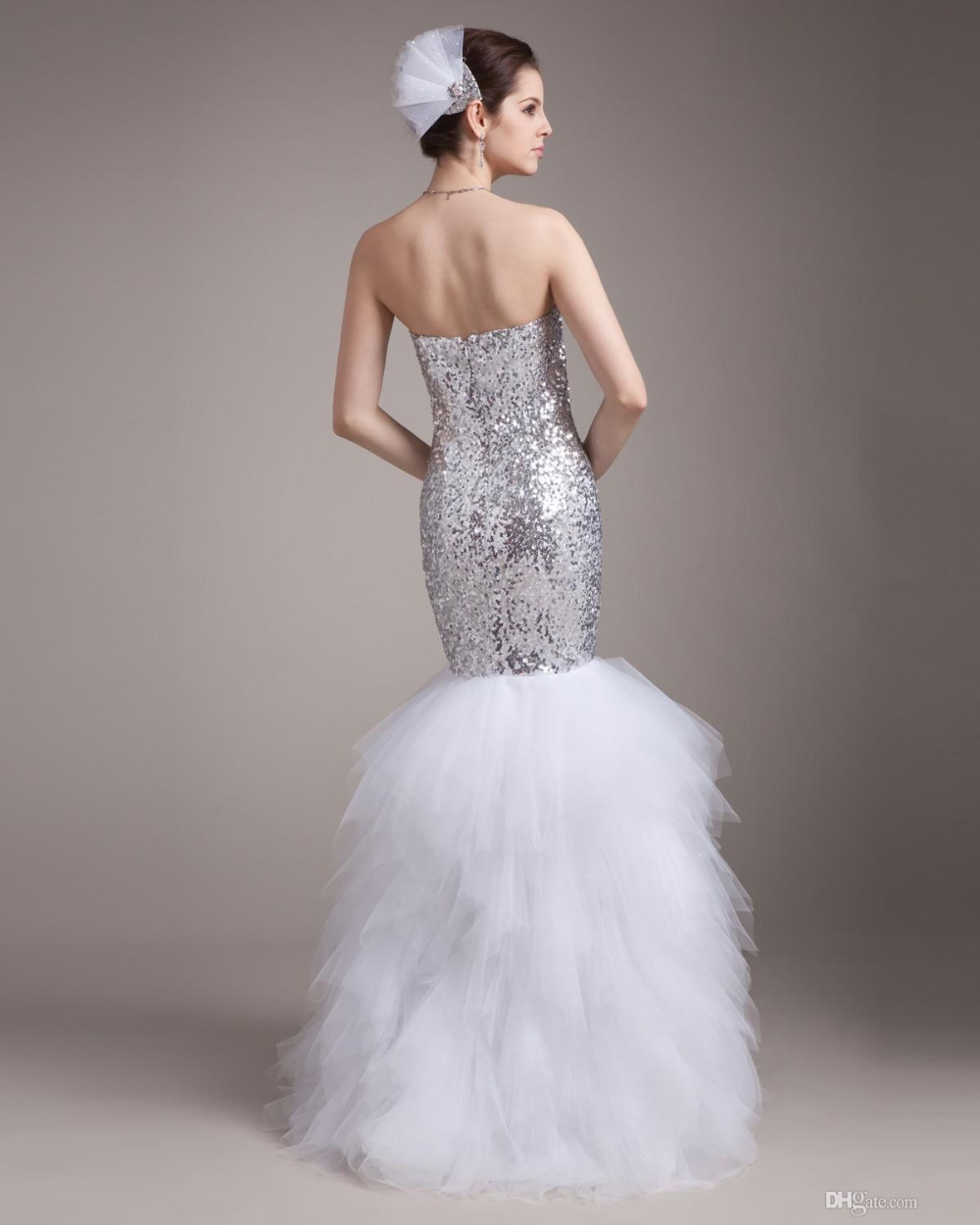 2015 Gorgeous Sweetheart Silver Sequin Fitted Mermaid Tulle Sweep ...