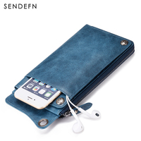 SENDEFN Fashion Wallet Women Genuine Leather Wallet Brand Women Purse Long Purse Coin Purse Phone Pocket For iPhone7S 5105 6