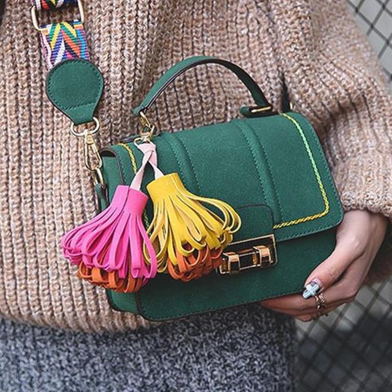 Women bag tassel shoulder bag tote fashion handbag top-handle messenger bag bolsa feminina vintage PU leather sac colorful strap