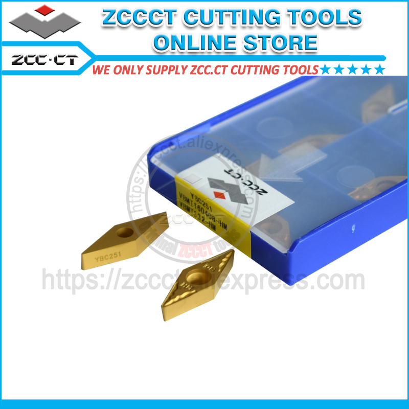 10pcs ZCC turning tool insert VBMT160408 HM YBC251 VBMT160408 VBMT1604 ZCC CT Carbide CNC Cutting Tool