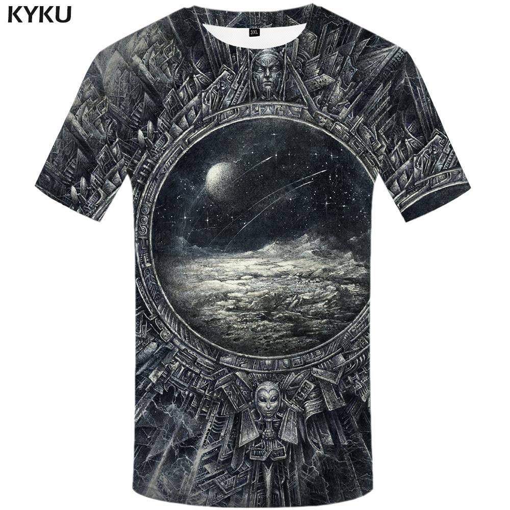 KYKU Brand Galaxy Space T-shirts Men Metal T Shirt 3d Moon Tshirt Printed War Tshirts Casual Gothic Print Mens Clothing Printed