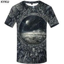 KYKU Brand Galaxy Space T-shirts Men Metal T shirt 3d Moon Tshirt Printed War Tshirts Casual Gothic Print Mens Clothing