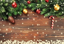 Laeacco Christmas Wooden Board Pine Branch Candy Baby Photography Background Customized Photographic Backdrops For Photo Studio