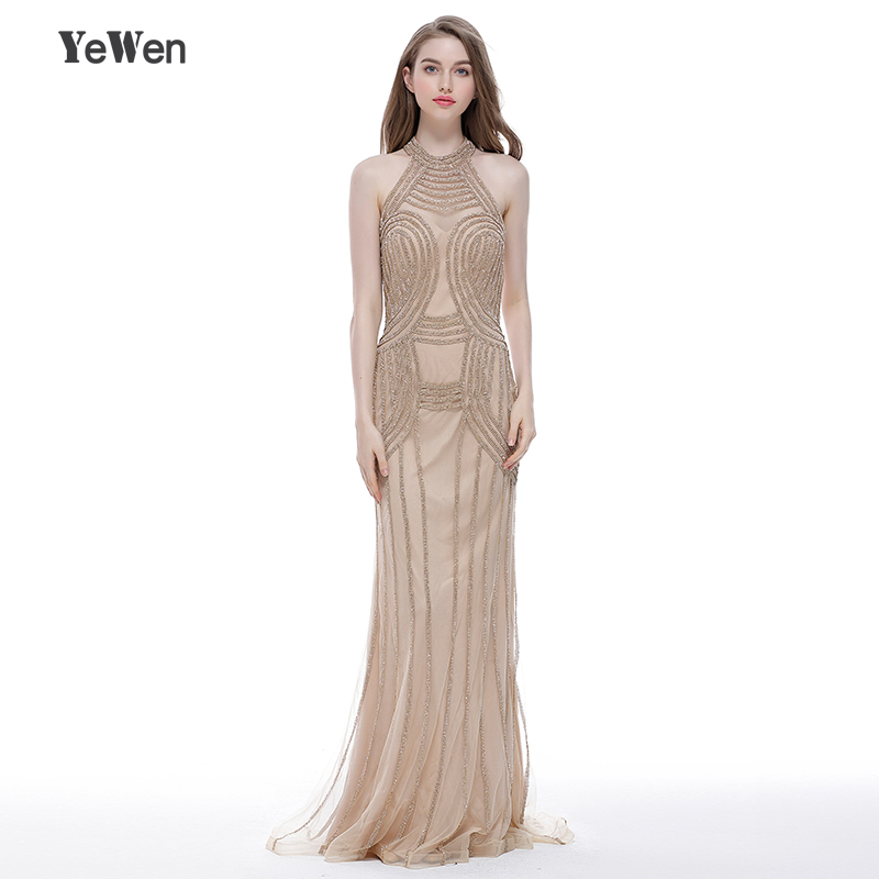 57fb900536a4e Luxury Sexy Tulle Halter Diamond Evening Dress Long Gold Crystal Mermaid Prom  Party Evening Gowns 2018 Robe De Soiree