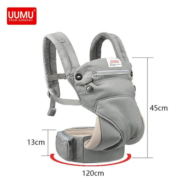 UUMU Cotton Breathable Ergonomic Baby Backpacks Carrier Slings Wrap Holder Hipseat Shoulder Waist Belt Sling Backpack Gear Ring 2