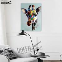 100% Handpainted ציורי שמן אקריליק בעלי חיים ג 'ירפה מאושרת מצחיק Cartoon תמונה על בד המודרני וול אמנות עיצוב בית