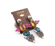 99CARATS New Arrival Quality Vintage Gold Color Skull Exaggerated Sparkling Earrings Vintage Jewelry