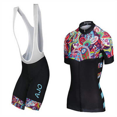 AJO Summer Bicycle Jersey for Women Short Sleeve Summer Cycling Jerseys Bike Bicycle Cycling Clothing Maillot Bib Shorts Set