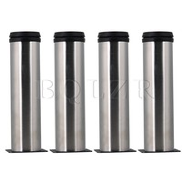 4 Pcs 7 Height Silver Stainless Steel Furniture Cabinet Legs Adjustable