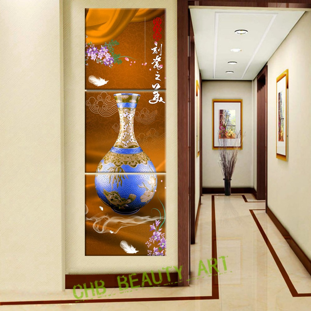 3 pannelli verticali ceramica wall art stampe su tela - Relojes decorativos para salon ...