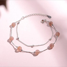 LUKENI Trendy 925 Sterling Silver Women Bracelets Accessories Top Quality Pink Strawberry Crystal Female Anklets Girl