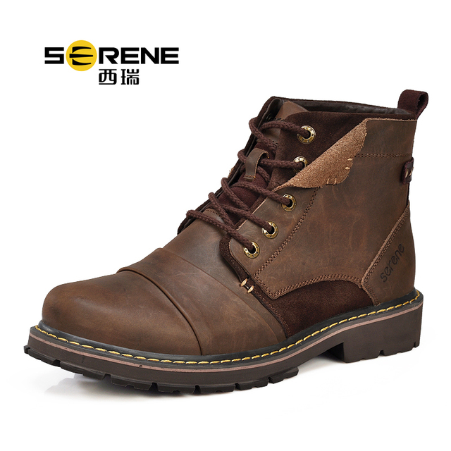 SERENE 3166 EUR Size 38-45 Men's Autumn Winter Work Boots With Plush Genuine Leather Ankle Shoes 2017 New Cow Leather Men Boots