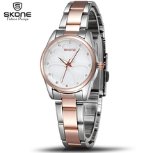 SKONE Brand Women Dress Watches Heart Rhinestone Rose Gold Fashion Watch Ladies Quartz-watch Girls Wristwatch 2016 Gift for her