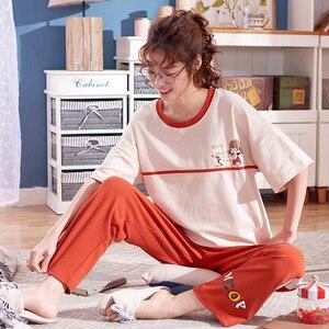 Image 3 - 큰 야드 xxl 여성 잠옷 세트 100% 코튼 nightwear 봄 여름 짧은 소매 잠옷 o neck sleepwear 여성 pijamas mujer