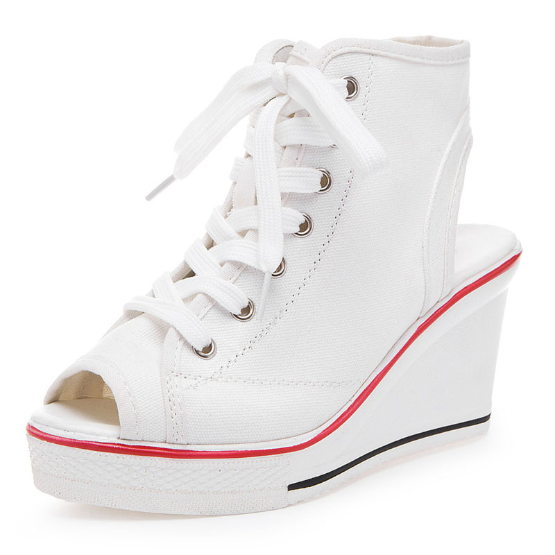Summer Women Wedge Canvas Shoes White