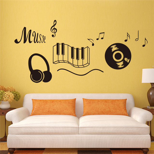 Instrument Wall Stickers Delight In Music Headset Removable Vinyl ...