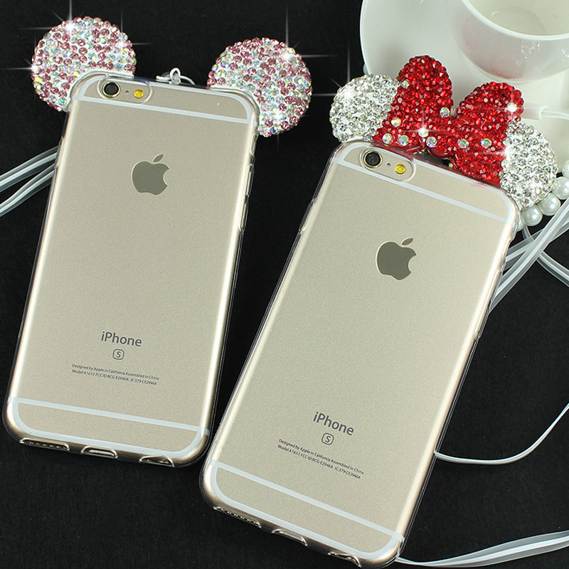 first rate a86a6 91a1b US $3.25 25% OFF|JAMULAR 3D Diamond Mickey Mouse Case For iPhone 7 8 Plus 6  6S Plus Cover Shell Rhinestone Ears Soft Transparent TPU Covers Cases-in ...