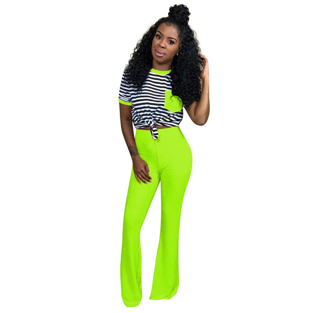 Casual O-Neck Knitted 2 Piece Outfits For Women Short Sleeve Striped Pockets  Set Top+Wide Leg Pants Neon Groen Nightclub