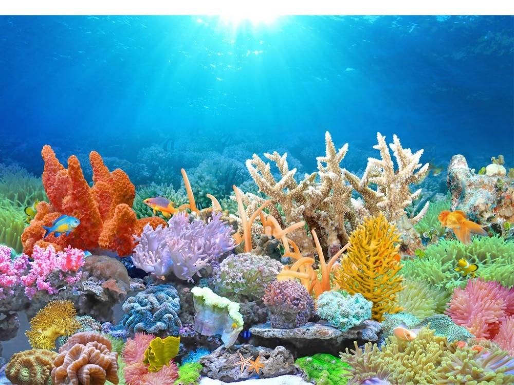 Custom Photo Wallpaper Coral Reef Goldfish Tank HD TV ...