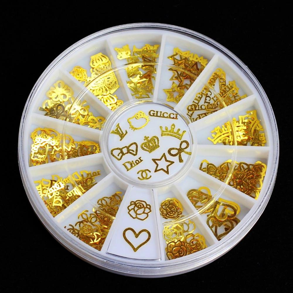 12 Models Gold Metal Tips Glitter Crown Flowers Charms Wheel Manicure 3D Nail Art Decorations ZP007