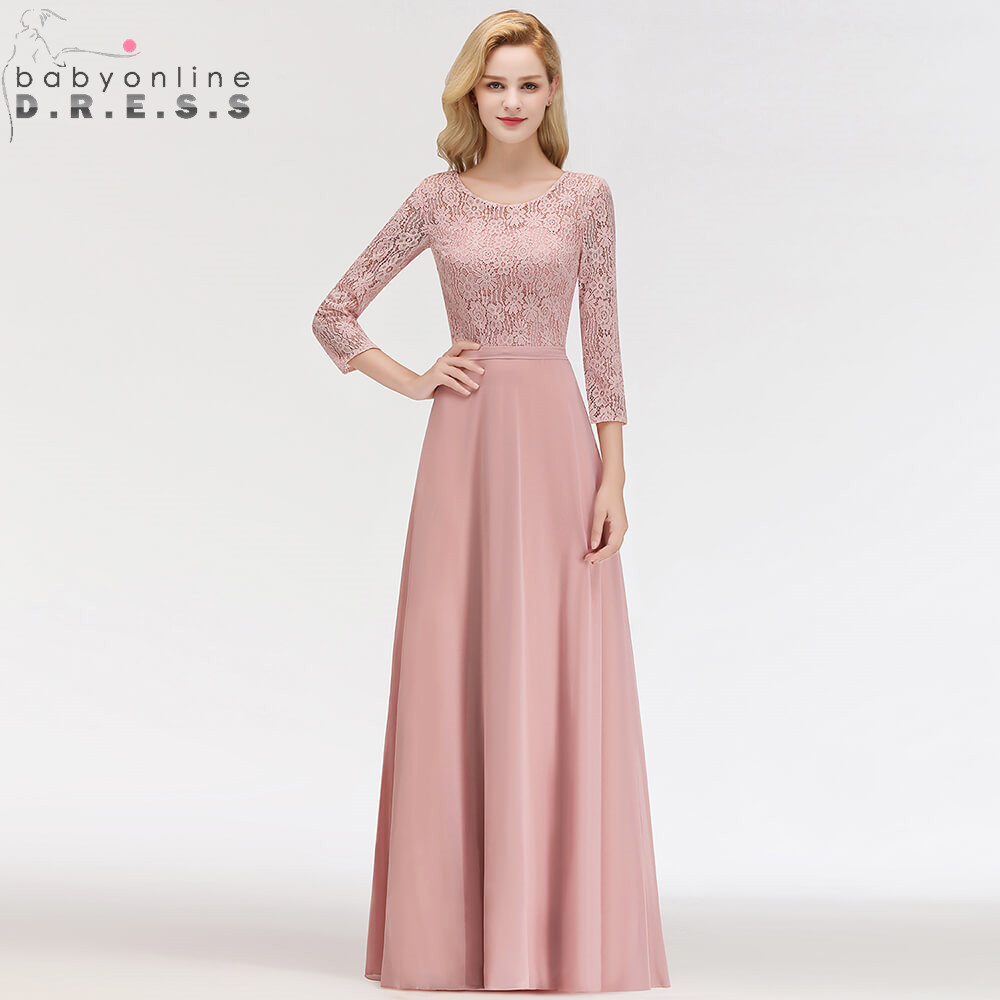 Hot Sale 3/4 Sleeve Dusty Rose Lace Long Evening Dress Sexy Illusion Chiffon Evening Gown Abendkleider Robe De Soiree Longo