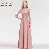 Hot Sale 3/4 Sleeve Dusty Rose Lace Long Evening Dress Sexy Illusion Chiffon Evening Gown Abendkleider Robe De Soiree Longo
