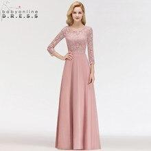 Sıcak satış 3/4 kollu tozlu gül dantel uzun gece elbisesi seksi Illusion şifon gece elbisesi Abendkleider Robe De Soiree Longo