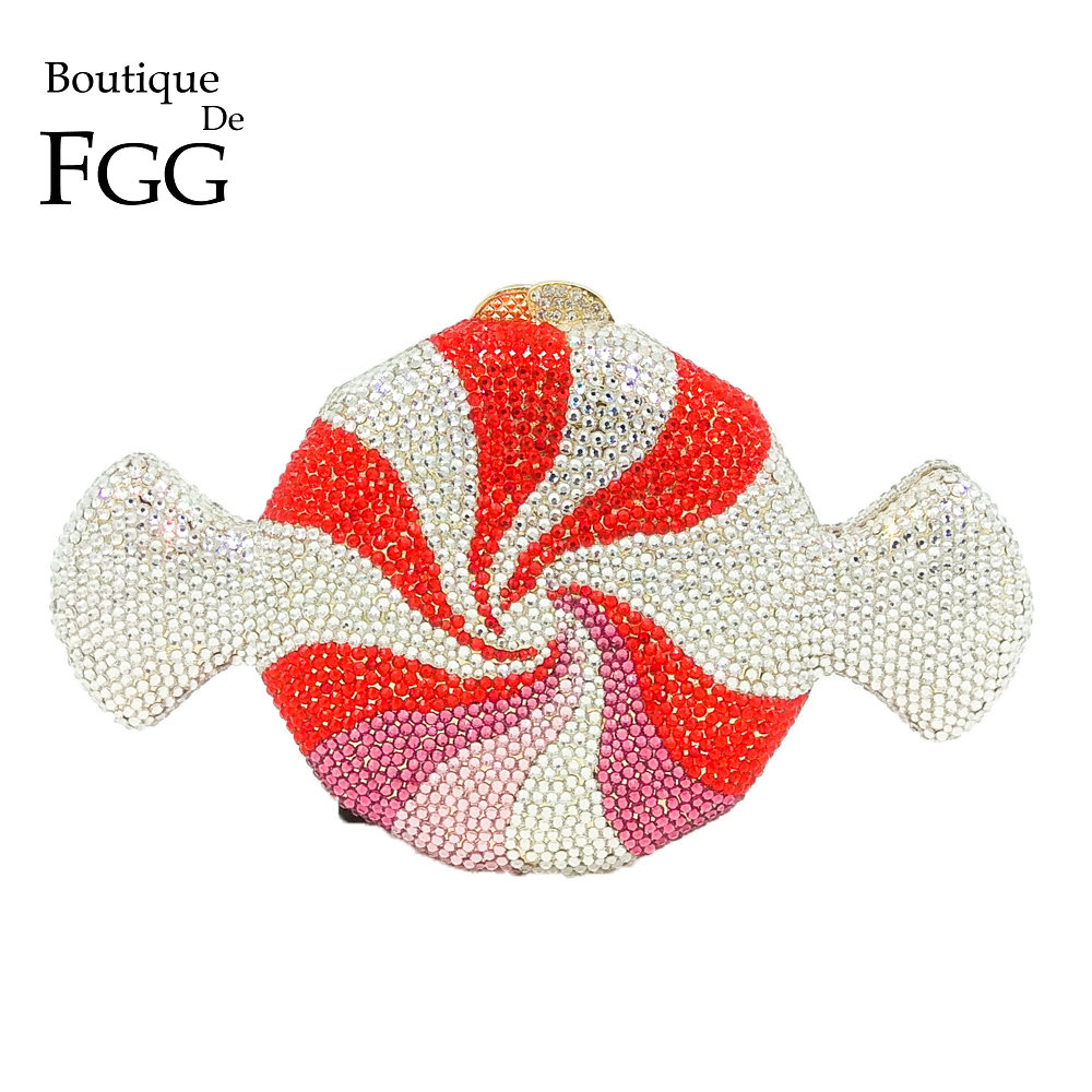 Boutique De FGG Women Crystal Candy Clutch Metal Evening Minaudiere Bag Wedding Party Fashion Handbag and