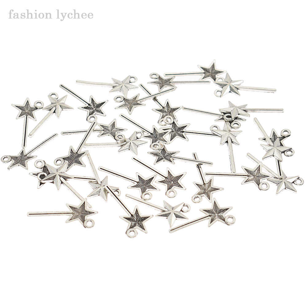 35Pcs Silver Fairy Magic Wand Charms Pendant DIY Necklace Barcelet Craft Jewelry