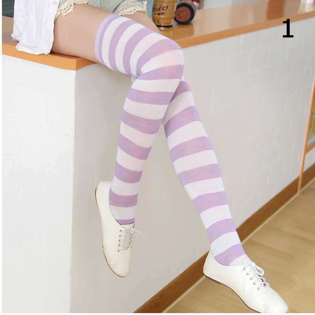 נשים בנות מעל הברך ארוך פס מודפס ירך גבוהה פסים כותנה גרביים 22 צבעים מתוק חמוד בתוספת גודל Overknee גרביים