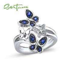 SANTUZZA Silver Butterfly Ring For Women 925 Sterling Silver Fashion Rings for Women Cubic Zirconia Ring Party Fashion Jewelry cheap 925 Sterling GDTC Fine Pave Setting Animal TRENDY Bridal Sets Silver Ring Rings Silver 925 Metal Rings Women Rings Rings Silver 925 Jewelry