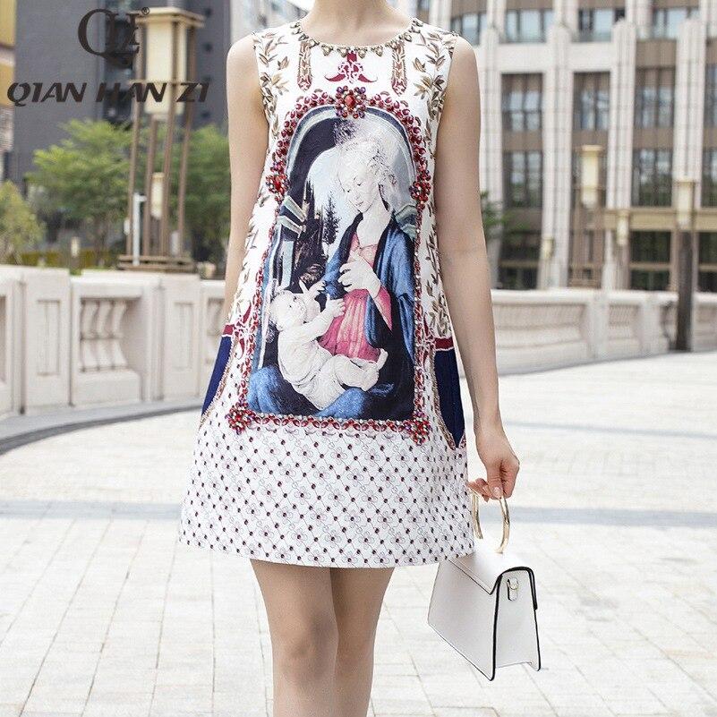 Qian Han Zi 2019 Date d'été Designer de mode piste robe de Femmes Sans Manches Imprimé Jacquard Élégant Diamants Réservoir Robe