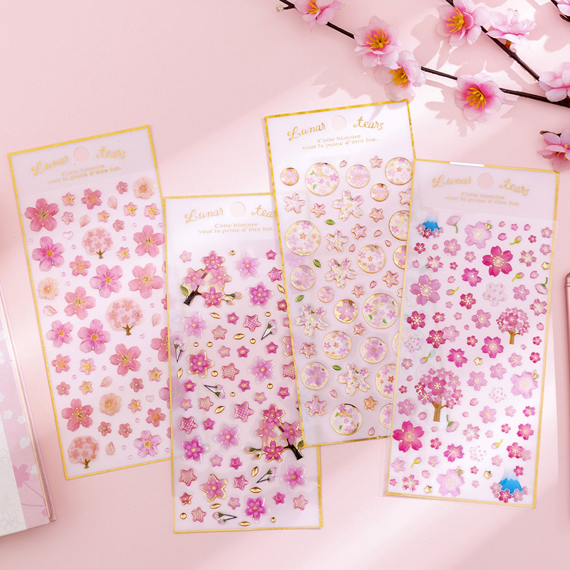 Round Cherry Sakura Blossom Series 3D Decorative Stickers Scrapbooking Stick Label Diary Stationery Album Stickers