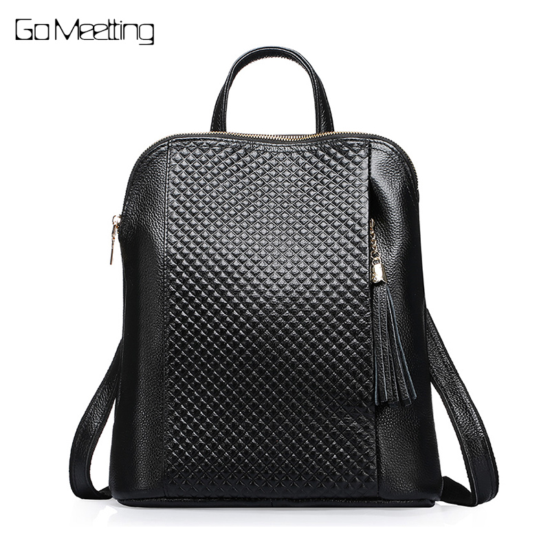 NEW 100% Genuine Leather Women Backpack Top Layer Cow Leather Ladies Fashion Backpacks Plaid Travel Party Rucksack Shoulder Bag open shoulder plaid top