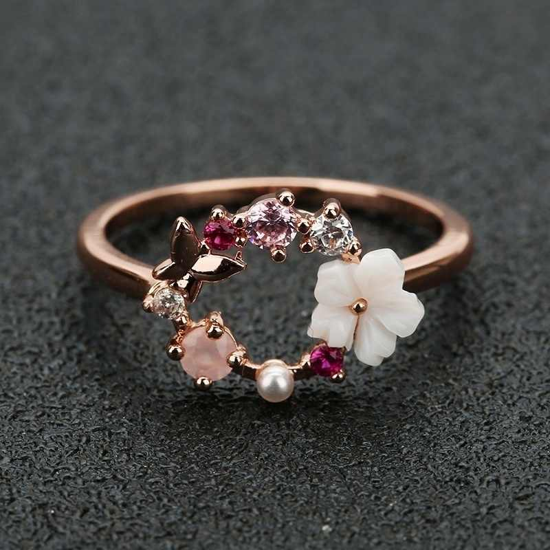 New Fashion Rose Gold Zircon Pearl Jewelry Exquisite Butterfly Ring Wedding Engagement Ring