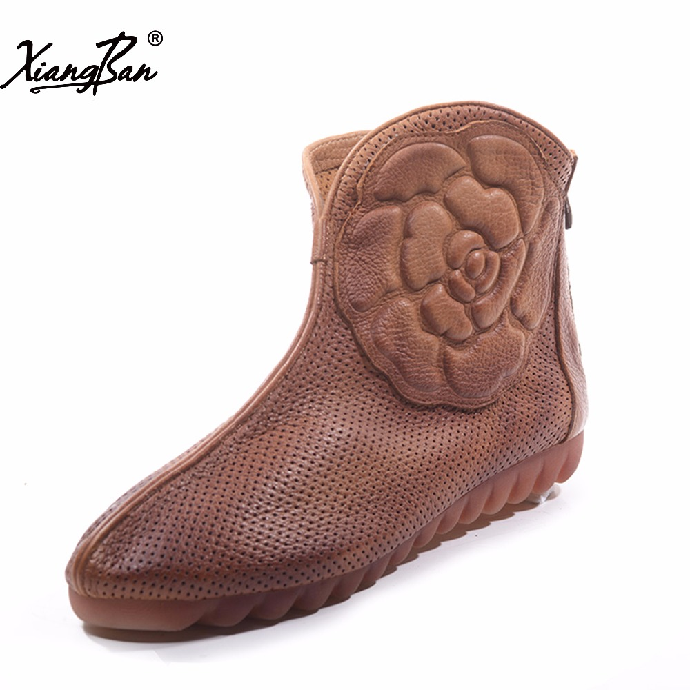 Xiangban Comfortable Handmade Women Flat Shoes Hollow Breathable Soft Soled Summer Women Ankle Boots K151K3