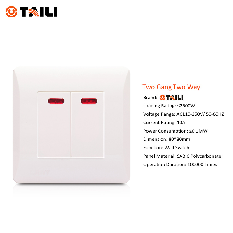 TAILI Brand Wall Switch Panel 2 Gang 2 Way Light Switch push button ...