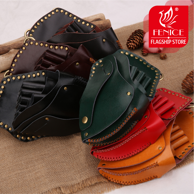 Fenice High Quality Vintage Leather Case Hairdressing Barber Salon Holster Pouch Styling Tools 7 Hair Scissors