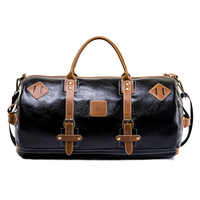 Retro PU Leather Travel Bag Men Carry on Large Handbags Duffel Waterproof Black Bucket Travel Bags Weekend Overnight Luggage Bag