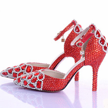 Red Rhinestone Crystal Wedding Shoes Pointed Toe Bridal High Heel Shoes with Ankle Strap Women Pumps Wedding Party Prom Shoes