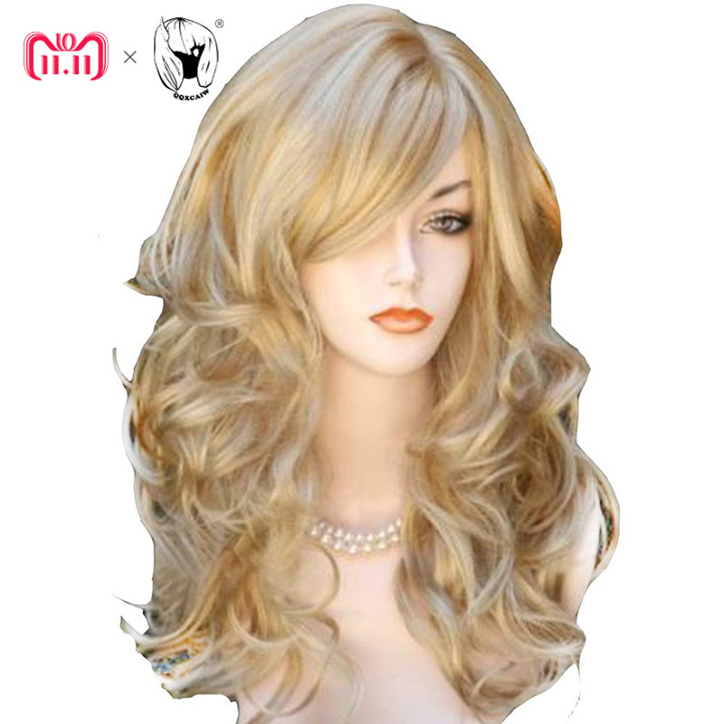 QQXCAIW largo ondulado natural rubia 60 cm pelucas de pelo sintético