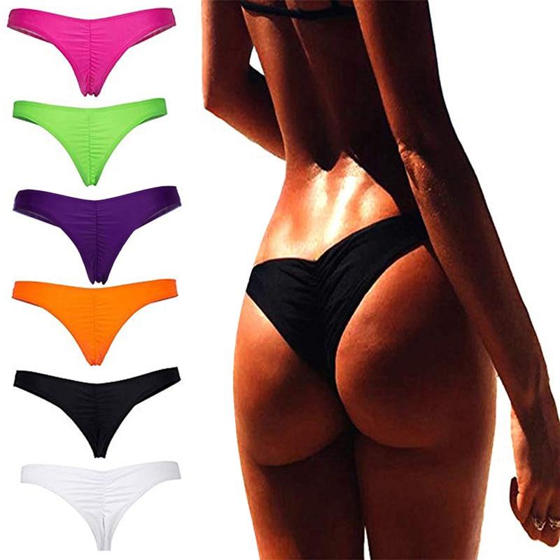 Vertvie New Women's Swimwear Fold Solid Panties Single Piece Sexy Low Waist Beach Shorts For Female Separates Bikini 2019 Summer