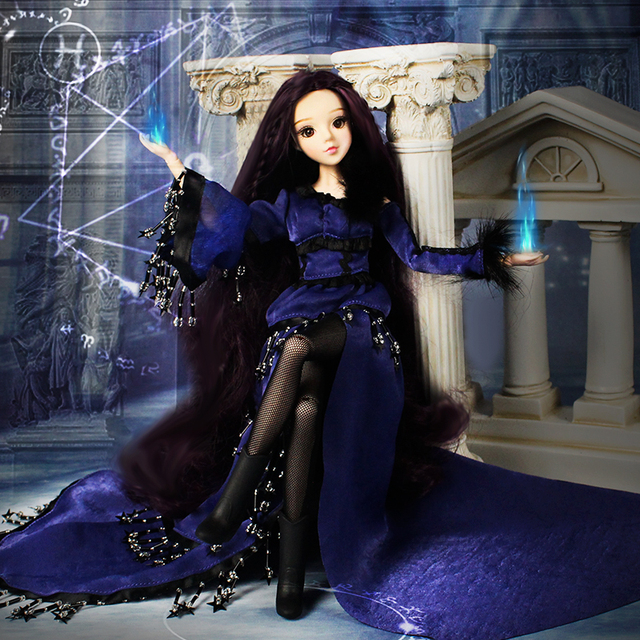 1/6 BJD MMGirl Scorpio 14 Joint Body with Deep Purple Outfit H eadwear and Doll Stand with MakeUp
