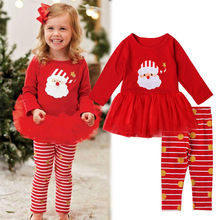 Girls Christmas Clothing Set Toddler Kids Baby Girl Outfit T-shirt Tutu Top Pants Winter Warm Clothes Set