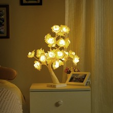 Battery or USB Power Cotton Ball Rose Tree LED Night Light Festival Party Romantic Wedding Home Decor Table Lamp Creative Gift