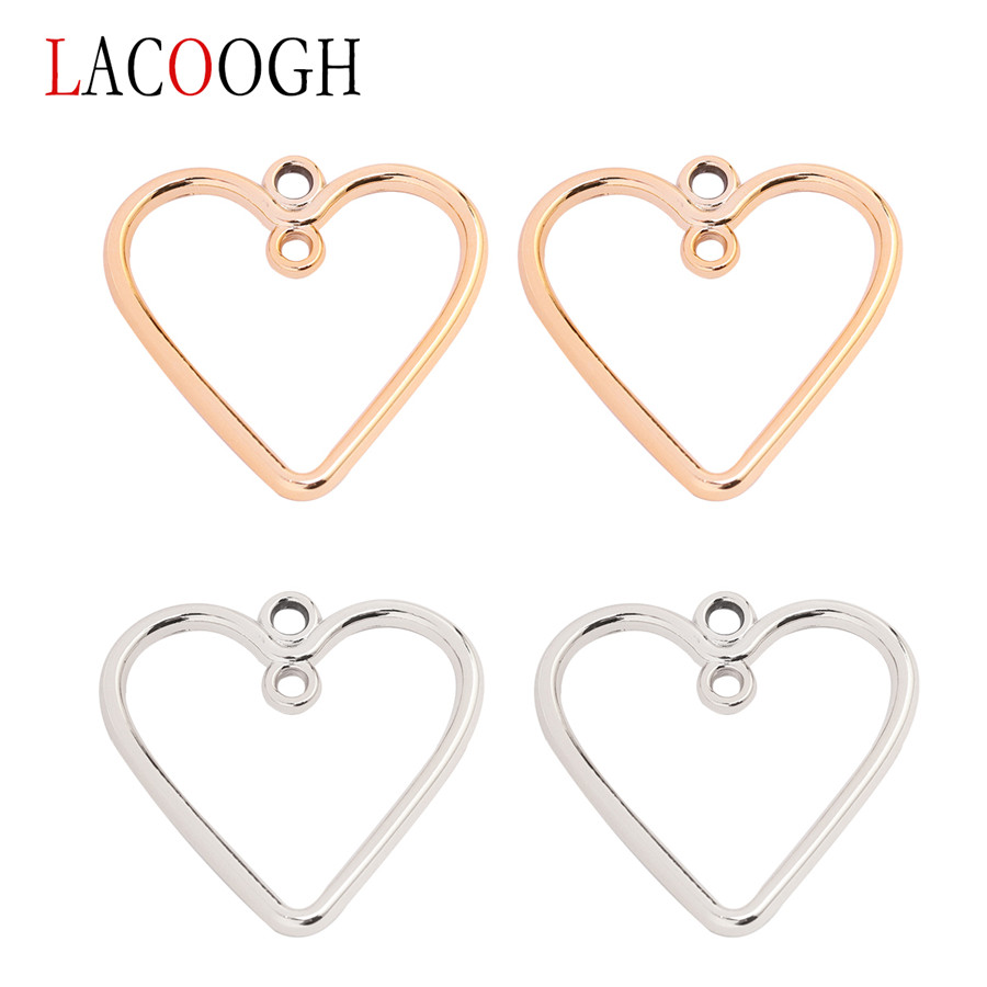 Lacoogh Double Hole Ccb Heart Small Charm Pendant For Necklace